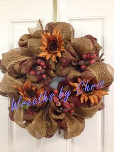 """Wreaths by Chris   https://www.etsy.com/shop/WreathsByChris Two-tone brown plaid paper mesh with 4"""" ribbon, rust sunflowers, and berries. Paper mesh and ribbon purchased at http://www.trendytree.com #trendytree #wreath"""