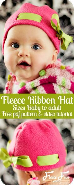 Fleece Ribbon Hat DIY Tutorial and FREE Pattern!!!  This free fleece hat pattern is cute and relatively easy to make! free-fleece-hat-pattern-fleece-ribbon-hat-patternThis ribbon hat is adorable on little girls!  This fleece project has easy sew options if you have a button-hole phobia.