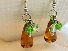Pear Amber Pink Lampwork Glass Dangle Earrings Doodaba Pink Earrings, Glass Earrings, Dangle Earrings, Gifts For My Sister, Vintage Pink, Vintage Style, Red Glass, Amber, Dangles