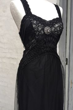 RawRags Black dress with lace up in the back ..one of a kind.  This piece I made while I was in a elegant mood..gatsby, 20s , vintage inspired .  A