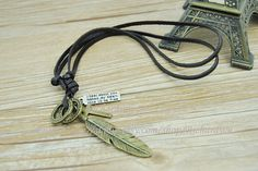 Retro Necklace,Bronze Feather & Cross And Ring Charm Necklace,Brown Man's Leather Necklace  N053