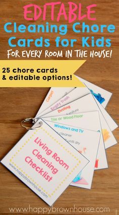 These Cleaning Chore Cards for Kids include everything needed to clean the home with your child's help. Simply print, laminate, and place on a ring for flippable chore task cards. Organize your child's chores with step-by-step task cards and lower mom's nagging. What a lifesaver!