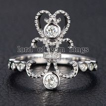Round Cut Moissanite and Diamond Engagement Ring,14K White Gold,Unique F... - $303.88+ #roundcutmoissaniterings