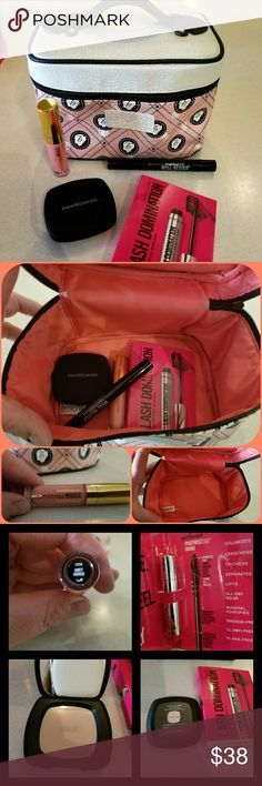 BareMinerals Bundle This bundle includes all new, unused products.  A full size touch up veil (this is hard to find), full size Well Rested, mini Lash Domination(love this mascara), mini Marvelous Moxie gloss, and an awesome Benefit cosmetic bag! BareMinerals Makeup