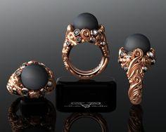 Tahitian Pearl & Diamond cimelio scorrimento barocco progettista perla anello nero. Pesante vittoriana Vintage Cocktail rosa oro bianca contessa