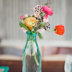 Flower and Bottle Centerpieces