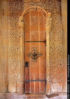 Norway, Telemark, Heddal Stave Church 13th C, Carved door