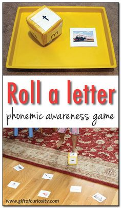 Roll a letter phonemic awareness game 101 ways to teach the alphabet - a simple game for helping kids learn the sounds letters make and recognize the first sounds of words Gift of Curiosity Teaching The Alphabet, Teaching Phonics, Learning Letters, Kids Learning, Jolly Phonics, Teaching Letter Sounds, Phonics Games, Abc Games, Group Games