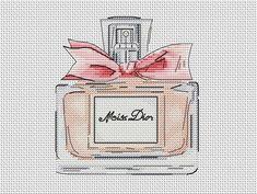 Beautiful bottle of perfume cross stitch pattern pink bottle cross stitch beauty cross stitch lady cross stitch gift for her cross stitch Cross Stitch Tutorial, Cute Cross Stitch, Cross Stitch Rose, Modern Cross Stitch, Cross Stitch Patterns, Stitches Makeup, Flower Perfume, Pink Bottle, Digital Pattern