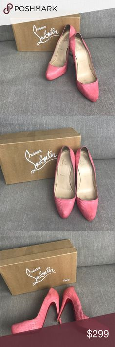 "Christian Louboutin Rolando Python Opaco Pumps 39 💯% AUTHENTIC! Pre owned pink/coral louboutin heels (heel height= 4.75"") w/some signs of wear & toe pad re-soled (as shown in pics). These shoes have recently been cleaned w/EZ Lincoln (a miracle product 🙆) & have lots of life left in them. Comes w/box, but no dust bag. Fit like US 8.                    ❌No PP                                                                                 ❌No taking transactions off posh…"