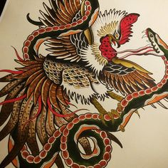 Gallery for fighting rooster painting cool pictures for Funky rooster tattoo and art gallery