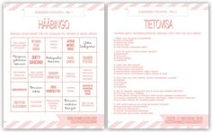 Palomiehen morsian - hääblogi Wedding Bingo, Wedding Planning, Wedding Ideas, Dream Wedding, Bullet Journal, How To Plan, Party, Printables, Weddings
