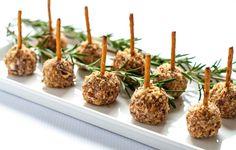 Mini Cheese Balls on a Stick--fun finger food! A tiny bite on a pretzel stick. Easy to make gluten-free, too! |www.flavourandsavour.com