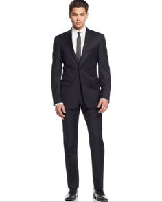 Calvin Klein Black Tonal-Striped Slim-Fit 2 Piece Suit