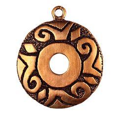 Bronze Inca Pattern Pendant (Solid Bronze)