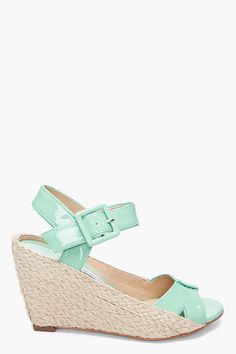 Diane Von Furstenberg Mint Green Sudan Wedges by SSense