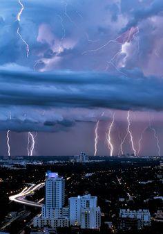 my hometown.  bluepueblo:  Lightning Storm, Miami, Florida photo via dawn