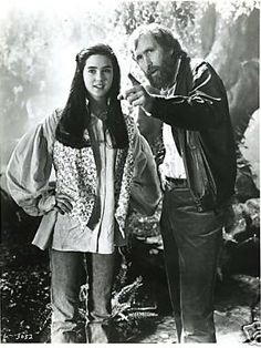 Jennifer Connelly with Jim Henson on the set of Labyrinth. This photo originates from The Jennifer Connelly Center. David Bowie, Jennifer Connelly, Jim Henson, Labyrinth Movie, Requiem For A Dream, Fraggle Rock, Last Unicorn, Cinema, Goblin King