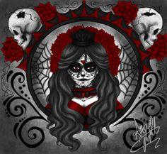 The Beautiful Dead by on deviantART Sugar Skull Tattoos, Sugar Skulls, Sylvia Ji, Day Of The Dead Artwork, Brown Pride, Skull Painting, Bad Tattoos, Pretty Tattoos, Grim Reaper