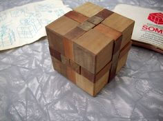 Vintage 60's Toy, Game, Wooden Cube Puzzle