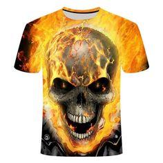 Flaming Skull T-Shirt | Skullflow Skull Shirts, 3d T Shirts, Funny Tshirts, Tee Shirt Homme, Plus Size Shorts, Skull Print, Ghost Rider, Harajuku Fashion, Herren T Shirt