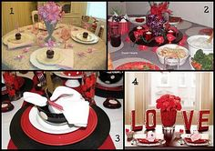 How about dressing up your own table for a romantic late-night Valentines dinner? Here are some ideas for  Valentine's Day Tablescapes.