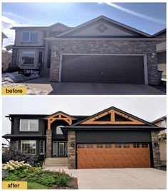 exterior design Before and after makeover. New dark charcoal exterior paint, timber frame accent beams, stone veneer, and a new Clopay Gallery Collection faux wood garage door transform give this house rustic Craftsman curb appeal. House Paint Exterior, Exterior House Colors, Exterior Design, Stone On House Exterior, Stone Veneer Exterior, Garage Door Colors, Stone Siding, Rustic Exterior, Exterior Homes