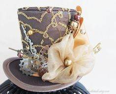 Steampunk Mini Top Hat, Brown Top Hat, Steampunk Cosplay, Steampunk Costume, Steampunk Hair Accessories, Women Mini Hat, Women Fascinator