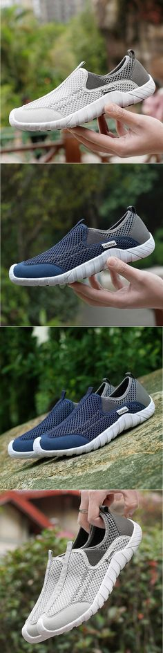 Men Lycra Mesh Fabric Breathable Running Shoes Non-slip Casual Sneakers