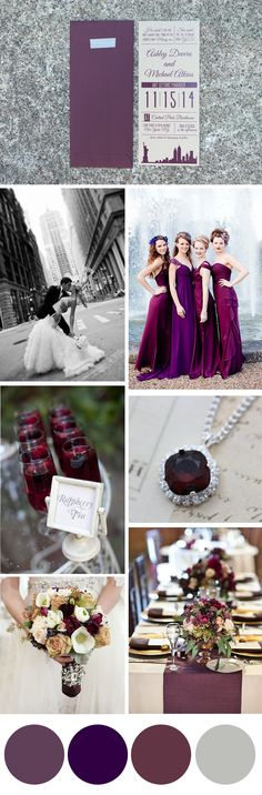 Colors: plum, burgundy & eggplant theme: urban romance season: autumn d Plum Wedding, Fall Wedding Colors, Autumn Wedding, Wedding Color Schemes, Rustic Wedding, Wedding Goals, Wedding Themes, Dream Wedding, Wedding Decorations