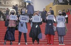 French feminist group La Barbe protests lack of female directors at #Cannes Film Festival @labarbelabarbe