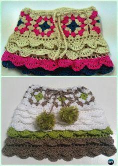 Crochet Granny Square Flounced Skirt Free Pattern - Crochet Girls Skirt Free Patterns