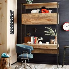 Love the black wood paneled wall!  It makes the light mango wood pop!