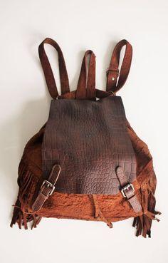 Free People CUT N' PASTE DISTRESSED BACKPACK Bag Fringe Brown Boho Hippe Purse  #Cutnpaste #BackpackStyle