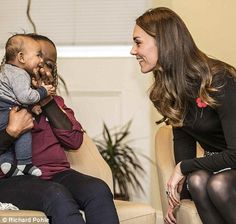Kate proved that she's a natural with children as she cooed over little Gabriel