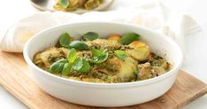 Pesto isnt just for pasta! Youll love this creamy, herby chicken and potato bake, laced with rich pesto and topped with parmesan. Chicken Potato Bake, Chicken Potatoes, Pesto Chicken, Baked Chicken Recipes, Creamy Pesto, How To Cook Chicken, Parmesan, Dishes, Lasagne