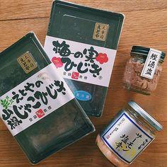 銀座のAKOMEYAで買ったご飯のお供。サーモン塩辛と梅の実ひじきはリピート買いです。