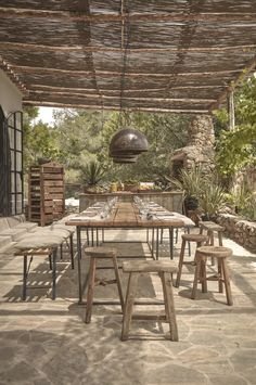 A woven cane pergola shades an outdoor dining patio. For more, see La Granja Ibiza: The Sexy New Farm Retreat. Photograph courtesy of Design Hotels. Patio Pergola, Pergola Shade, Pergola Ideas, Cheap Pergola, Pergola Carport, Small Pergola, Modern Pergola, Small Patio, Porch Ideas