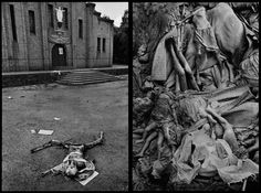 The massacre at Nyarabuye took place in the grounds of a Catholic Church and school. Hundreds of Tutsis, including many children, were slaughtered at close range in Rwanda, 1994 (left). Thousands were buried anonymously in mass, communal graves in Zaire, 1994 (right).