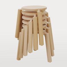 Zero Waste Wooden Stools by Form in Void | MONOQI