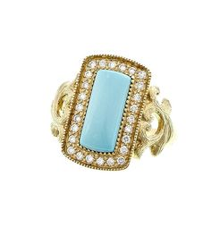 18 karat yellow gold rectangle turquoise and diamond ring