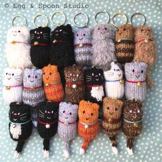 The Original Design hand knitted Fat Cat Keyring, carefully made, ensuring quality and cuteness! Available in a variety of colours, including the new Fluffy Fat Cats available in Grey or White, complete with wool. Cat Lover Gifts, Cat Gifts, Cat Lovers, Crochet Projects To Sell, Pocket Pal, Knitted Cat, Original Design, Cat Decor, Fat Cats