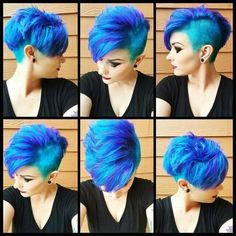Our feature page celebrates edgy, beautiful hair, makeup and nail art. Funky Hairstyles, Pretty Hairstyles, Love Hair, Great Hair, Chaotischer Pixie, Pixie Cuts, Short Hair Cuts, Short Hair Styles, Ombré Hair