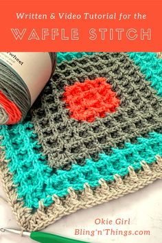The waffle stitch is a super easy stitch to learn. It uses a combination of double crochet and front post double crochet to make the waffle texture. Crochet Bebe, Crochet Yarn, Crochet Hooks, Free Crochet, Crochet Potholders, Crochet Granny, Crochet Waffle Stitch, Front Post Double Crochet, Crochet Stitches Patterns