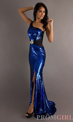 One Shoulder Open Back Sequin Gown at PromGirl.com