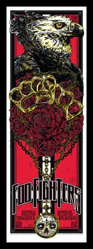 FOO FIGHTERS Melbourne AAMI Park 3rd Dec. 2011 Rhys Cooper Poster  Psychedelic rock concert poster