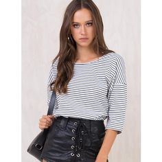 Minkpink Stripe Tee (50 AUD) ❤ liked on Polyvore featuring tops, t-shirts, white and black striped t shirt, black and white striped top, black white striped t shirt, black and white stripe t shirt and black and white tee