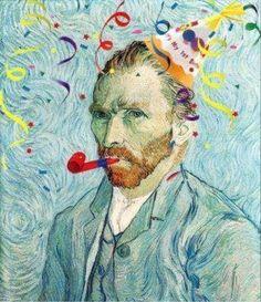 Van Gogh no carnaval Happy Birthday Courtney, Happy Birthday Artist, Happy Birthday Illustration, Very Happy Birthday, Birthday Wishes Cards, Funny Birthday Cards, Birthday Greetings, Birthday Memes, Birthday Posts
