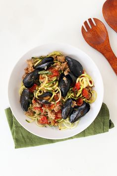 Paleo Mussels and Sausage Zucchini Pasta Recipe