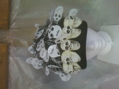 Skeletons on bill of cap are glow in the dark, quite an effect when walking the kiddies around for candy.